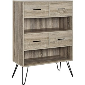 2 Shelf Bookcase in Oak and Gunmetal Gray