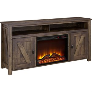 60'' Fireplace TV Stand in Heritage Pine