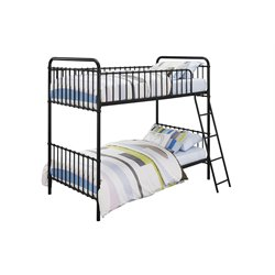 Iron Twin Bunk Bed in Black