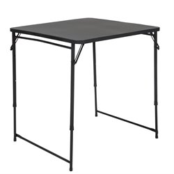 34'' Square Height Adjustable Folding Table in Black
