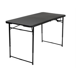 4' Height Adjustable Folding Table in Black