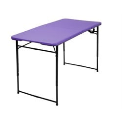 4' Height Adjustable Folding Table in Purple