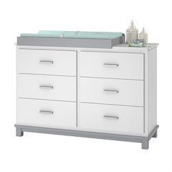 6 Drawer Dresser Changing Table in White and Gray