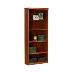 Ameriwood 5-Shelf Standard Wood Bookcase in Expert Plum