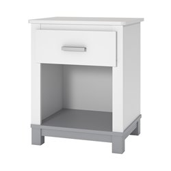 Ameriwood COSCO Leni Nightstand in White and Light Slate Gray