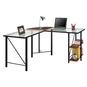 Glass Top L Desk in Cherrry and Black
