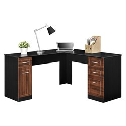L Desk in Cherry and Black