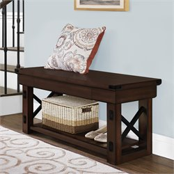 Wood Veneer Entryway Bench in Mahogany