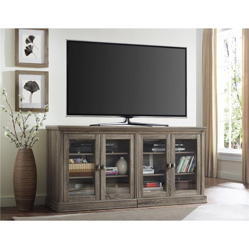 70 39 39 tv stand with glass doors in sonoma oak 1784096pcom for Door 9 sonoma