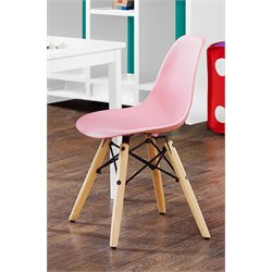 Molded Wood Leg Chair in Pink