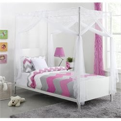 Canopy Twin Metal Bed in White