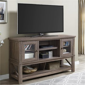 70'' TV Stand with Glass Doors in Sonoma Oak
