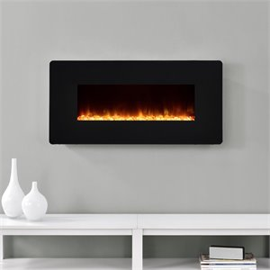 35'' Wall Mounted Electric Fireplace in Black