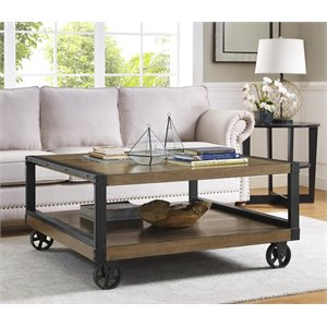Wood Veneer Coffee Table in Rustic Gray