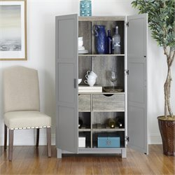 64'' Storage Cabinet in Gray and Sonoma Oak