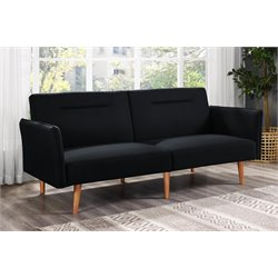 Linen Convertible Sofa in Black