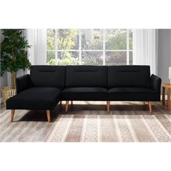 DHP Brent Convertible Sectional in Black Linen