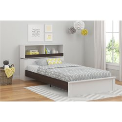 Twin Bookcase Bed in White and Coffee Plank