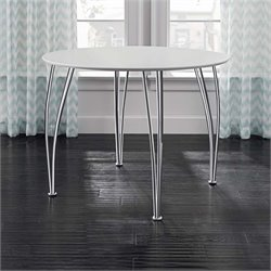 DHP Bentwood Round Dining Table with Chrome Legs in White