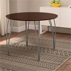 DHP Bentwood Round Dining Table with Chrome Legs in Espresso
