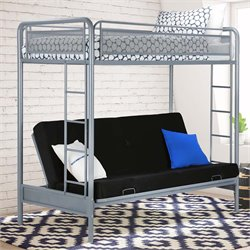 Twin over Futon Metal Bunk Bed in Silver