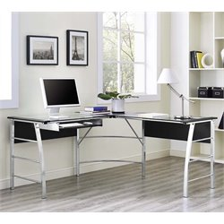 Glass Top L Shaped Computer Desk in Black