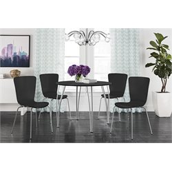 DHP Bentwood 5 Piece Round Dining Set in Black