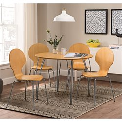 DHP Bentwood 5 Piece Round Dining Set in Natural