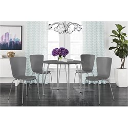DHP Bentwood 5 Piece Round Dining Set in Gray