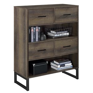 Ameriwood Home Candon Bookcase with 4 Bins in Distressed Brown Oak