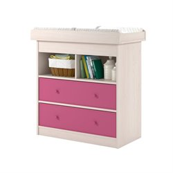 Ameriwood Home Applegate Changing Table with 2 Pink Fabric Bins