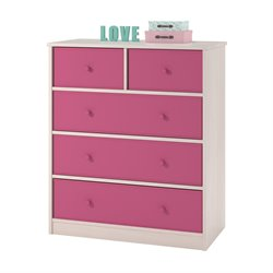 Ameriwood Home Applegate Storage Chest with 5 Pink Fabric Bins