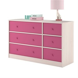 Ameriwood Home Applegate Storage Chest with 6 Pink Fabric Bins