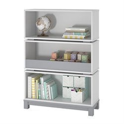 Ameriwood Home Leni Storage Bookcase in White and Light Slate Gray
