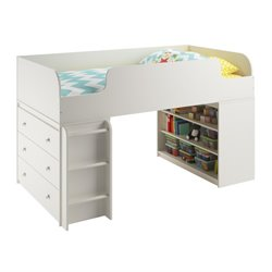 Ameriwood Home Elements Loft Bed with 3 Drawer Dresser in White