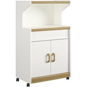 Microwave Cart with Oak Trim in White Stipple