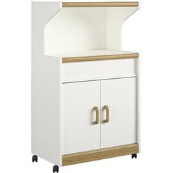 Ameriwood Microwave Cart with Oak Trim in White Stipple