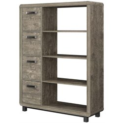 Ameriwood Home Eastlin 4 Shelf Bookcase with Bins in Brown