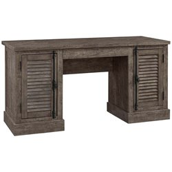 Ameriwood Home Sienna Park Double Pedestal Desk in Rustic Gray