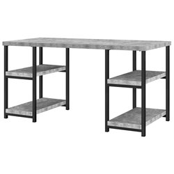 Ameriwood Home Ashlar Double Pedestal Writing Desk in Concrete Gray