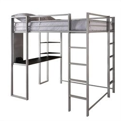 DHP Abode Silver Full Size Loft Bed with Black Desk and Shelves