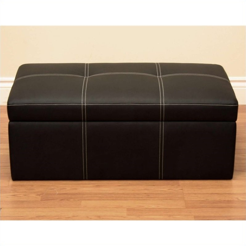 DHP Delaney Leather Storage Ottoman Bench in Black