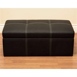 Delaney Faux Leather Storage Ottoman Bench in Black