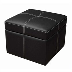 DHP Delaney Faux Leather Storage Cube Ottoman in Black