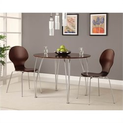 DHP Bentwood Round Wood Dining Table in Espresso
