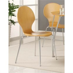 DHP Bentwood Round Dining Side Chair in Natural (Set of 2)