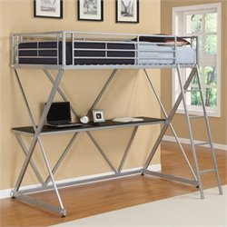 DHP X-Shaped Twin Metal Loft Bunk Bed in Silver