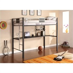 DHP Silver Screen Metal Twin Loft Bed in Black with Desk