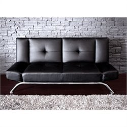 Emma Faux Leather Convertible Sofa in Black