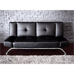 DHP Emma Faux Leather Convertible Sofa in Black